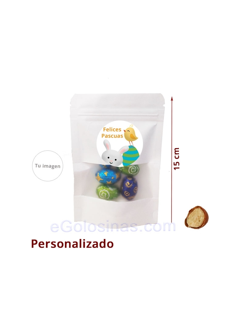 BOLSA CARTÓN HUEVO CHOCOLATE PASCUA 40gr personalizada