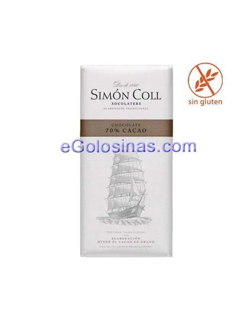CHOCOLATE 70% 85gr SIMON 10uds