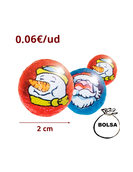 MINI BOLAS CHOCOLATE NAVIDAD 200uds SORINI