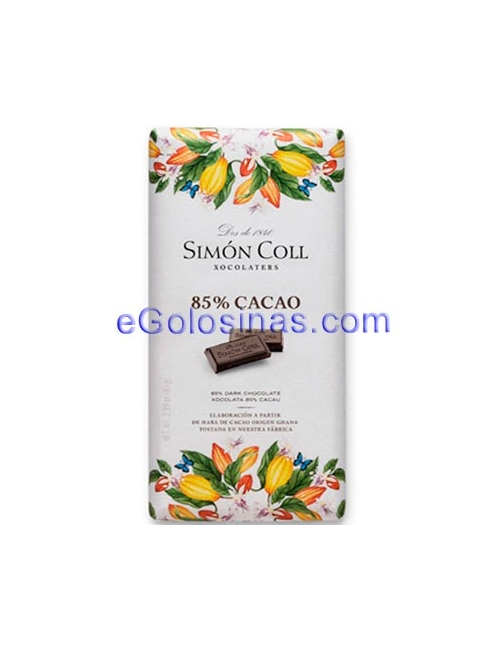 TABLETA CHOCOLATE NEGRO 85% 10uds SIMON