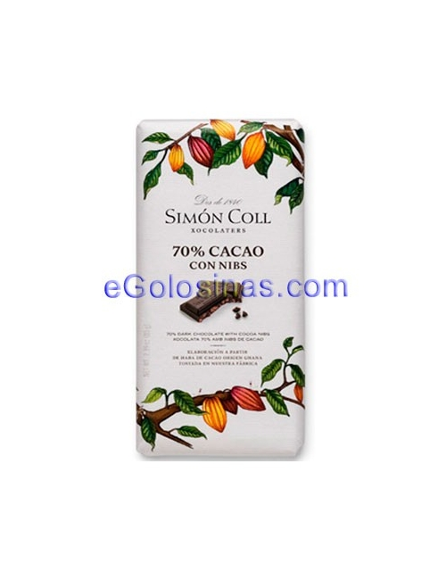 TABLETA CHOCOLATE 85% NIBS 10uds SIMON COLL