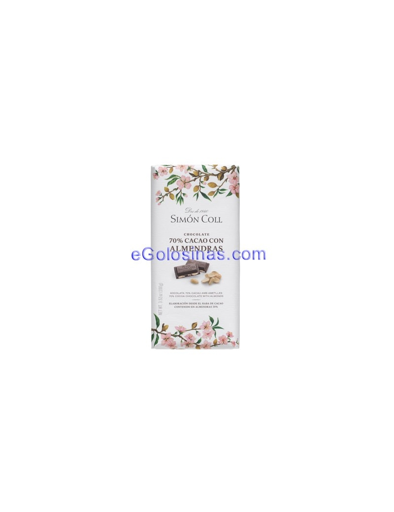 TABLETA CHOCOLATE 70% Y ALMENDRA 100GR 10uds