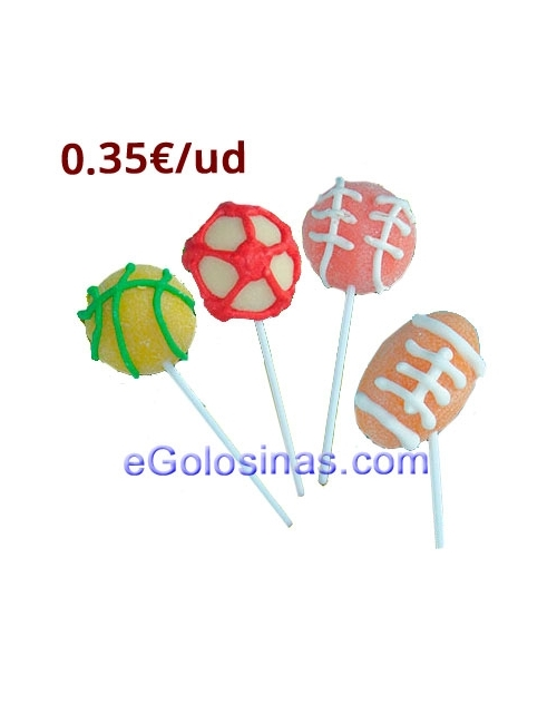 PIRULETA GOMA SPORTS BALL 24uds