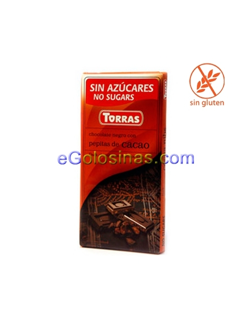 TABLETA CHOCOLATE NIBS 75gr TORRAS