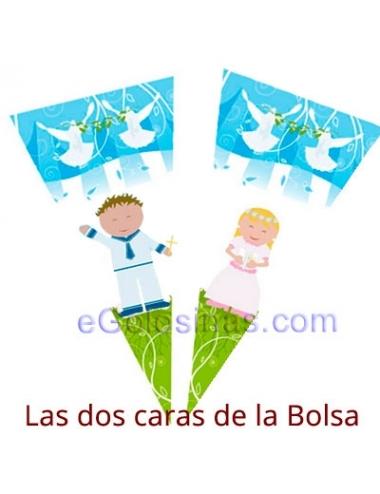 BOLSA CONO COMUNION AZUL 100uds