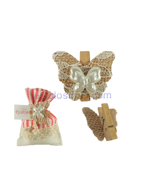 MINI PINZAS DECORATIVA MARIPOSA 4uds