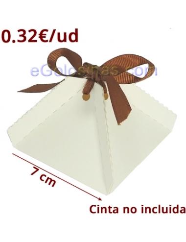 5 CAJITAS PIRAMIDE BLANCA PARA DETALLES 7x5cm para Bodas y Bautizos