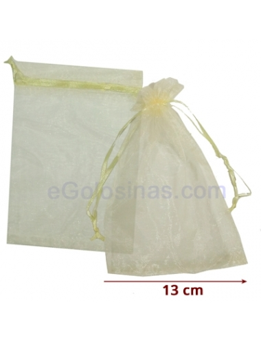 10 Bolsas Organza Beige11x18cm