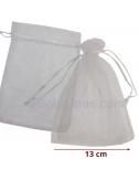 10 Bolsas Organza Blanca 11x18cm