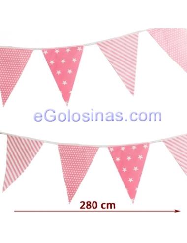 GUIRNALDA BANDERIN ROSA DECORADA 2.8mts