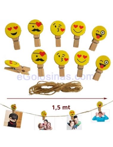 PINZAS EMOJI para decoración y cordón para Mesas Dulces Emoji
