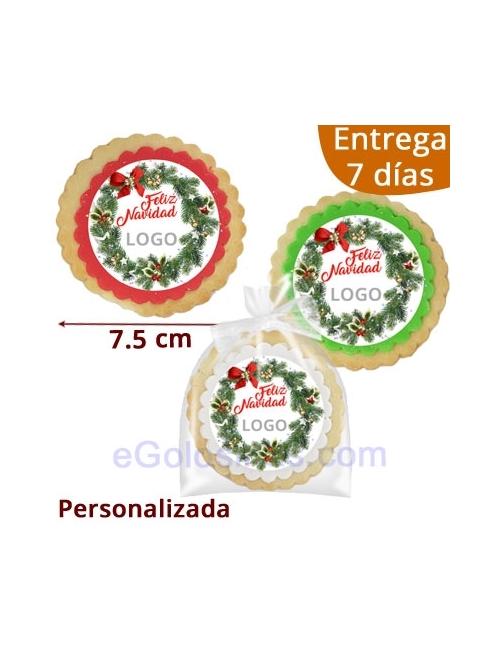 GALLETAS REDONDAS FELIZ NAVIDAD logo personalizado