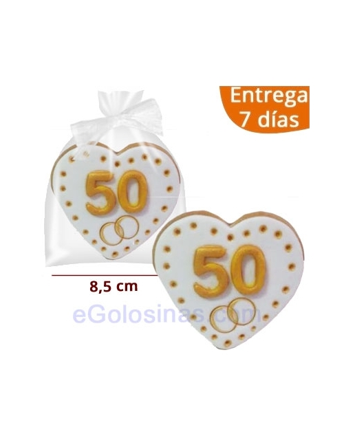 GALLETAS CORAZON BODAS DE ORO