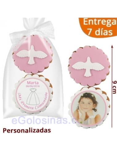 2 GALLETAS COMUNION PALOMA ROSA personalizadas