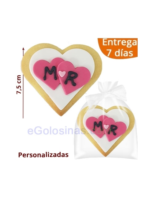 GALLETAS DECORADAS CORAZON BODA INICIALES
