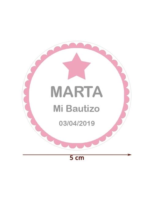 ETIQUETA 5cm ROSA ESTRELLA personalizada