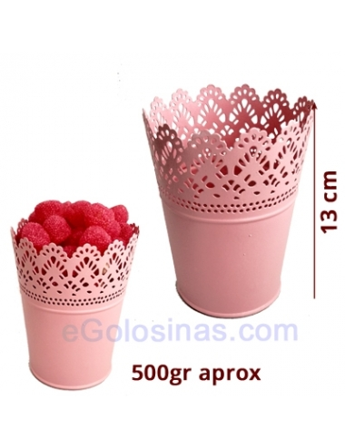 CUBO METÁLICO PEQUEÑO ROSA 1ud CANDY BAR