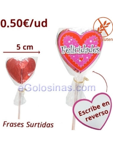 PIRULETAS MINI CORAZON DEDICATORIA 20uds