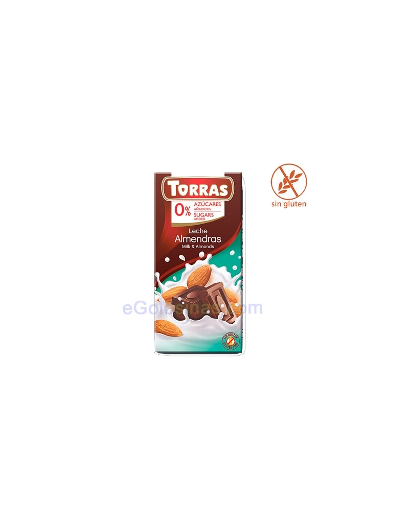 TABLETA CHOCOLATE LECHE ALMENDRAS 75gr TORRAS
