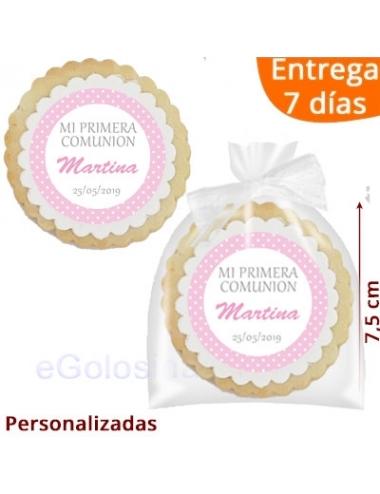 GALLETA RECORDATORIO COMUNION TOPOS ROSA personalizada