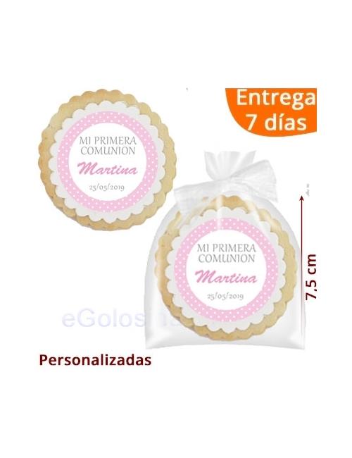 GALLETAS COMUNION NIÑA TOPOS ROSA personalizada