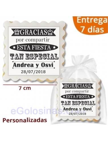 GALLETA RECORDATORIO BODA 7cm