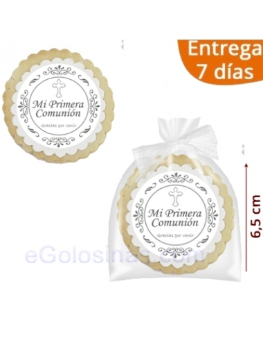 GALLETA DECORADA COMUNION BLANCA 6,5cm No personalizada