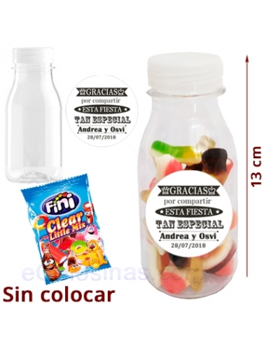 BOTELLA MINI CHUCHES BRILLO BODA personalizada